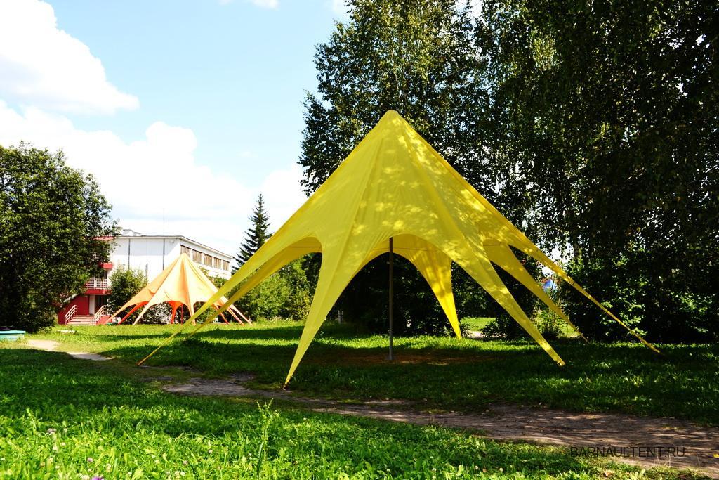 Вантовый шатер желтого цвета в лагерь отдыха